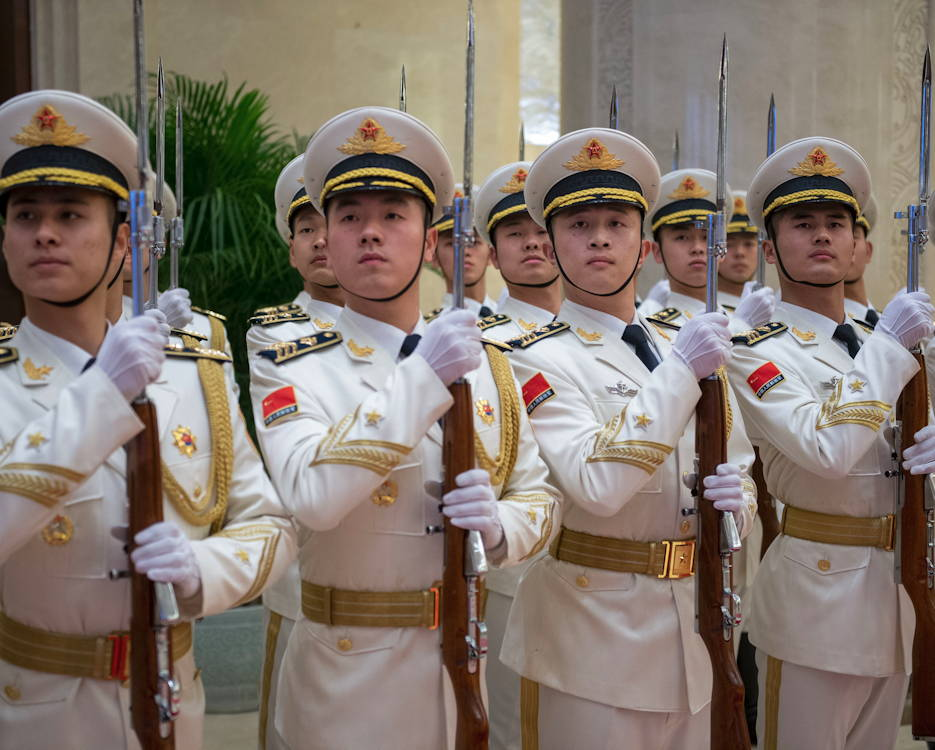January 16, 2019 - Chinese sailors stand in formation in Beijing during a visit by Chief of Naval Operations Adm. John Richardson to China's naval headquarters. Richardson was on a three-day visit to Beijing and Nanjing to continue the ongoing dialogue with the chief of China's navy and to encourage professional interactions at sea, specifically addressing risk reduction and operational safety measures to prevent unwanted and unnecessary escalation. (U.S. Navy photo by Chief Petty Officer Elliott Fabrizio)