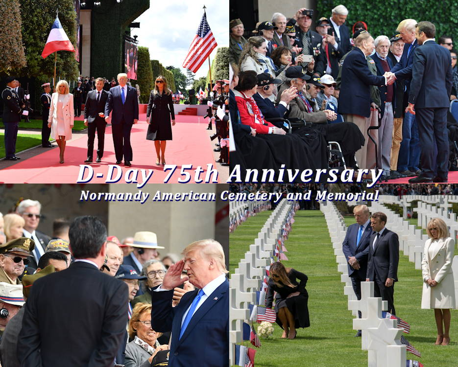 U.S. President Donald J. Trump, First Lady Melania Trump,  French President Emmanuel Macron, and French First Lady Brigitte Macron participate at the commemoration ceremony of the 75th anniversary of D-Day at the Normandy American Cemetery and Memorial on June 6, 2019. (Image created by USA Patriotism! from U.S. Air Force photos by Master Sgt. Andy M. Kin)