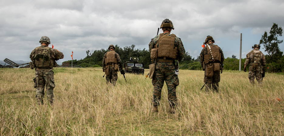 U.S. service members sweep for land mines during an explosive ordnance disposal exercise at Kin Blue Training Area, Okinawa, Japan, September 19, 2019. The EOD exercise was designed to simulate conventional warfare and the use of conventional ordnance and involved the participation of three U.S. military branches and over 43 different military occupational specialties within III Marine Expeditionary Force. (U.S. Marine Corps photo by Lance Cpl. Carla O)