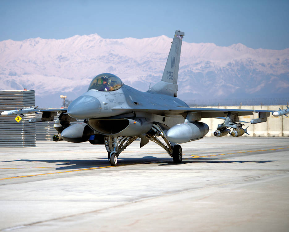 "February 27, 2019 - A pilot from the U.S. Air Force 510th Expeditionary Fighter Squadron at Bagram Airfield, Afghanistan prepares his F-16 Fighting Falcon for takeoff involving a mission. The 510th EFS ""Buzzards"" deployed from Aviano Air Base, Italy, deliver precision fire to protect U.S. and coalition forces in support of Operations Freedom's Sentinel and the NATO Resolute Support mission. Both maintainers and pilots are essential to supporting the mission at Bagram. (U.S. Air Force photo by Senior Airman Rito Smith)"