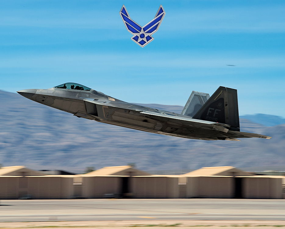 July 17, 2019 - A U.S. Air Force F-22 Raptor from the 1st Fighter Wing takes off at Nellis Air Force Base, Nevada. As the core wing at Red Flag 19-3, the 1st FW lends their expertise and ensures participating units have all the necessary resources they need to meet Red Flag objectives. (Image created by USA Patriotism! from U.S. Air Force photo by Senior Airman Tristan Biese)