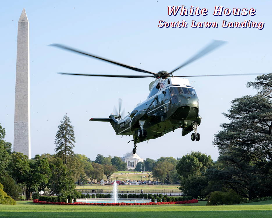 August 18, 2019 - Marine One carrying President Donald J. Trump and members of the First Family approaches for landing on the South Lawn of the White House with the Washington Monument and Thomas Jefferson Memorial in the background. (Image created by USA Patriotism! from Official White House Photo by Tia Dufour)