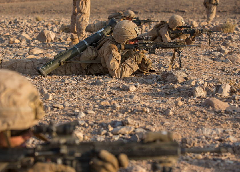 August 31, 2019 - U.S. Marines with India Company, Battalion Landing Team 3/5, 11th Marine Expeditionary Unit (MEU), fire their rifles during a dry-fire exercise during Exercise Eager Lion 2019 in the Hashemite Kingdom of Jordan. (U.S. Marine Corps photo by Cpl. Jason Monty)