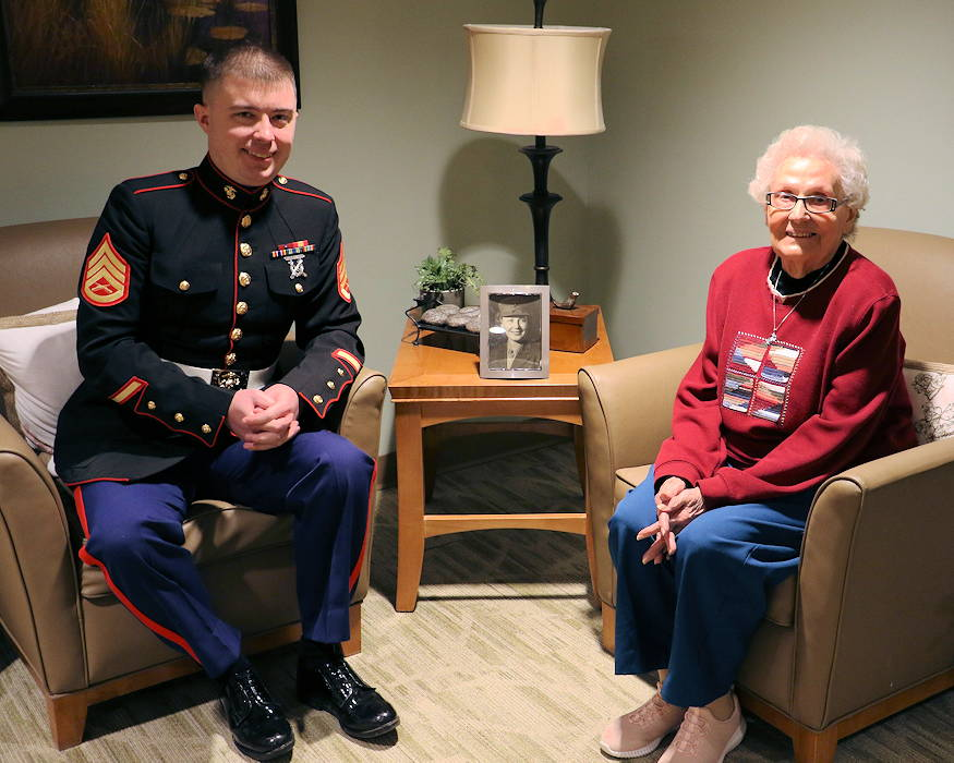 January 13, 2019 - Staff Sgt. Nicholas Ranum, a Marine Corps Recruiting Station Milwaukee Marketing and Communications Marine, visited Ruth Voight-Holman, a Marine World War II Veteran, at Lasata Senior Living Campus in Cedarburg, Wisconsin. He talked with her and bonded over their time in the Marines. (U.S. Marine Corps photo by Sgt. Emma Norris)