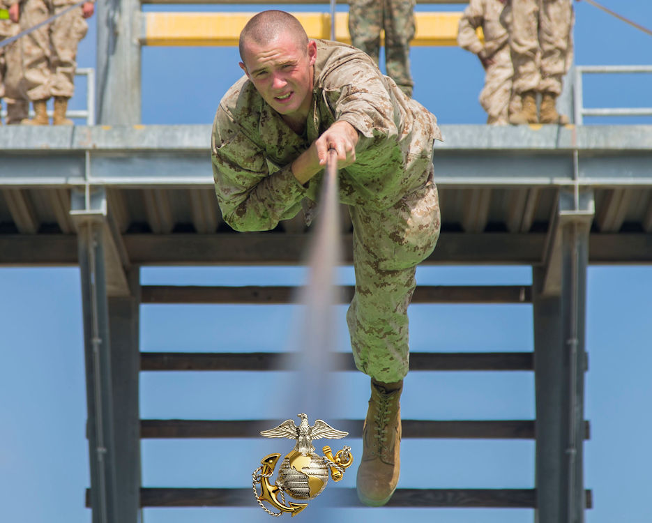 June 18, 2019 - A recruit with Delta Company, 1st Recruit Training Battalion, participates in the Slide for Life obstacle during Confidence Course II at U.S. Marine Corps Recruit Depot San Diego. The confidence course challenges recruits to face their fears and overcome them. Annually, more than 17,000 males recruited from the Western Recruiting Region are trained at MCRD San Diego. (Image created by USA Patriotism! from U.S. Marine Corps photo by Cpl. Brooke C. Woods)