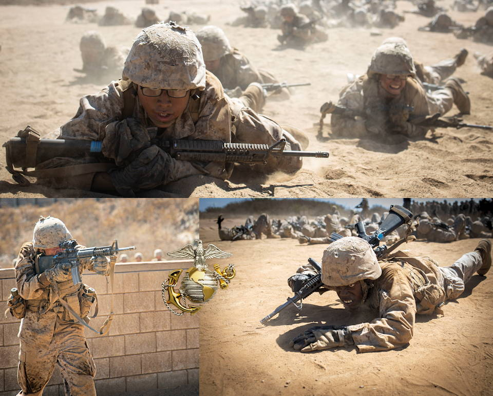 September 13, 2019 - Recruits with Kilo Company, 3rd Recruit Training Battalion conduct low crawls, assaults, and other drills during Day Movement Course at Marine Corps Base Camp Pendleton, California. The recruits faced multiple obstacles throughout the course including high walls and barbed wire. (Image created by USA Patriotism! from U.S. Marine Corps photos by Lance Cpl. Zachary Beatty)