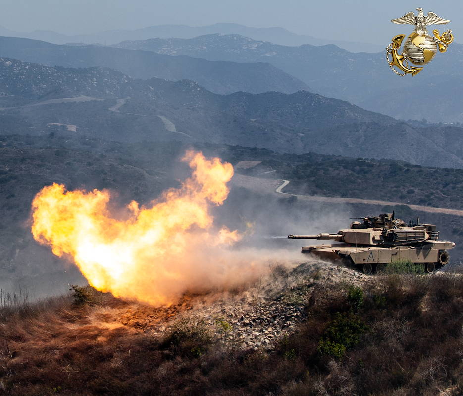 August 29, 2019 - An M1A2 Abrams Main Battle Tank fires during the Tank Gunnery Competition, TIGERCOMP, on Marine Corps Base Camp Pendleton. The winning crew, 4th Tank Battalion, 4th Marine Division, Marine Forces Reserve, will have the opportunity represent the Marine Corps in the Sullivan Cup, which is the Army's total force tank gunnery competition. TIGERCOMP is an annual force competition that determines the Marine Corps' most lethal tank crew. (Image created by USA Patriotism! from U.S. Marine photo by Sgt. Tayler P. Schwamb)