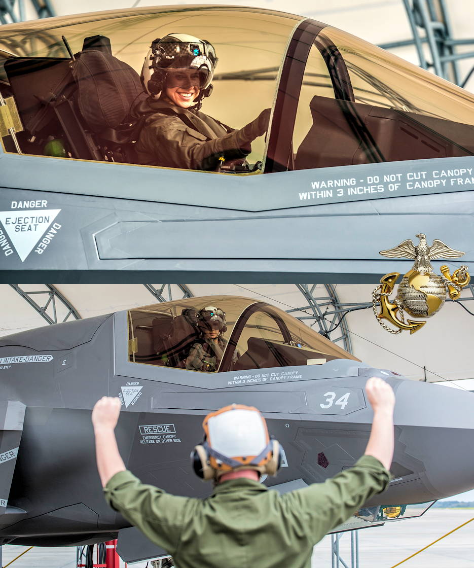 U.S. Marine Capt. Anneliese Satz left her legacy on the Marine Corps' F-35B Program when she became the first female Marine to complete the F-35B Basic Course on June 27, 2019 ... with her first assignment as a F-35B pilot with Marine Fighter Attack Squadron 121 in Iwakuni, Japan. (Image created by USA Patriotism! from U.S. Marine Corps photos by Sgt. Ashley Phillips)