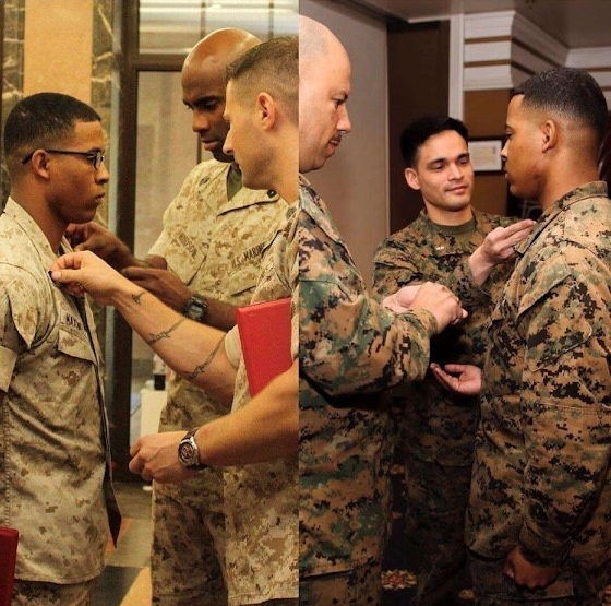 Image of two photos showing both times U.S. Marine Corps Sgt. Carlito Maxwell was promoted to the rank of Sergeant. (U.S. Marine Corps image by Frances Seybold)