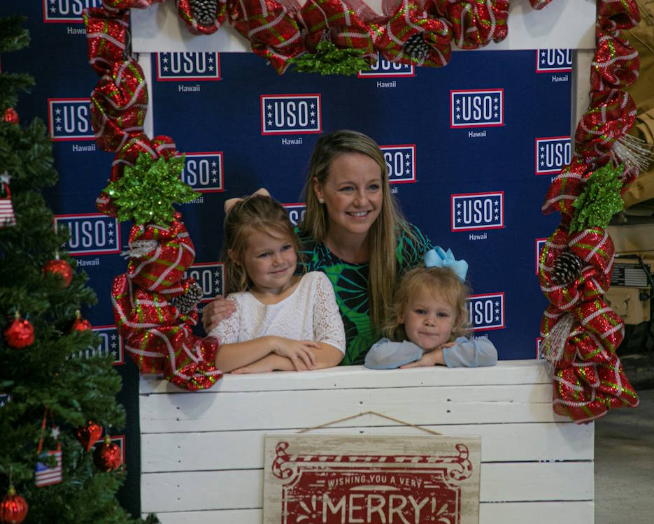 December 18, 2019 - The family of a U.S. Marine with Marine Unmanned Aerial Squadron 3, Marine Aircraft Group 24, during the unit's deployed spouses brunch on Marine Corps Base Hawaii. The event was supported by the USO (United Service Organizations) to provide service to the families of Marines on deployment during the holidays. (U.S. Marine Corps photo by Lance Cpl. Jacob Wilson)