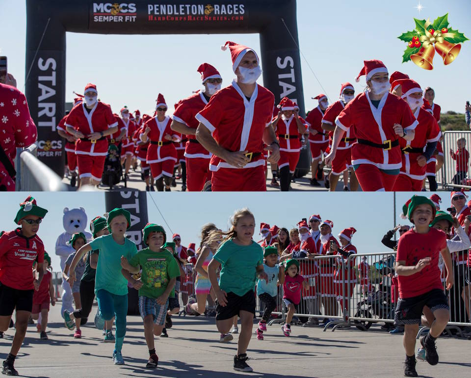 December 15, 2019 - Service members and their families sprint from the starting line during the Santa Run at the Assault Craft Unit 5 compound on Marine Corps Base Camp Pendleton, California. (Image created by USA Patriotism! from U.S. Marine Corps photos by Lance Cpl. Andrew Cortez)