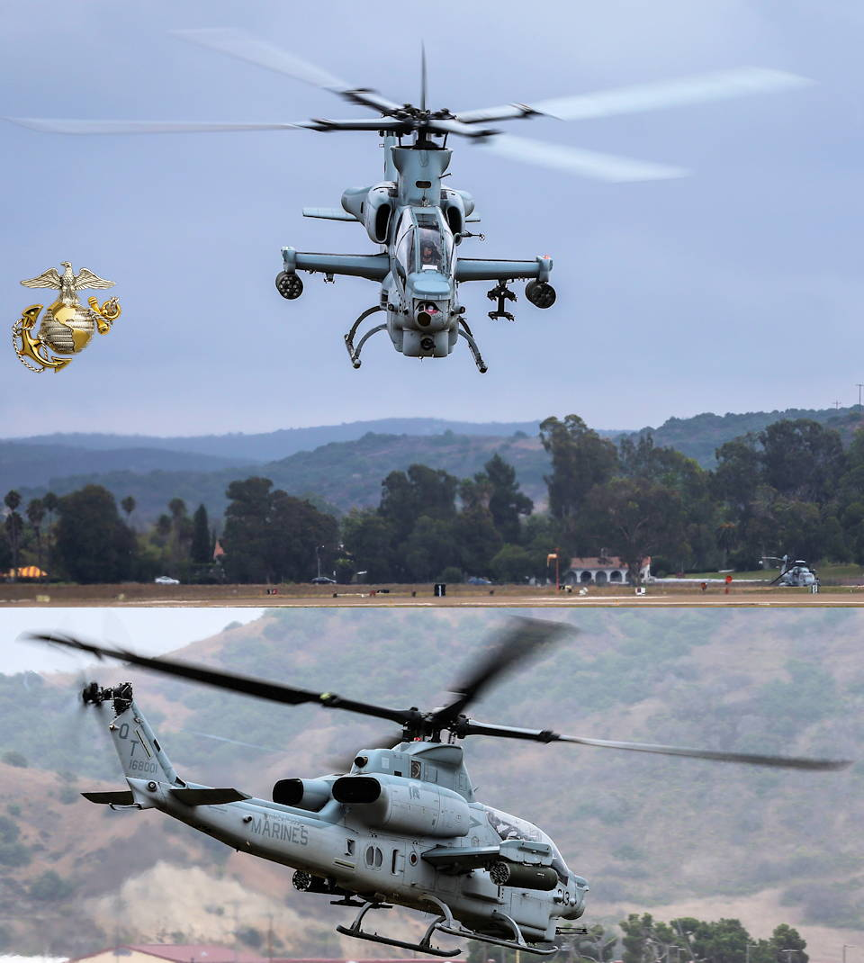 September 26, 2019 - An AH-1Z Viper attack helicopter takes off from the flight line on Marine Corps Air Station Camp Pendleton, California. The air station operates and maintains a secure airfield in order to support I Marine Expeditionary Force, Marine Corps Base Camp Pendleton tenant commands and visiting units to maintain and enhance their mission capabilities and combat readiness. (Image created by USA Patriotism! from U.S. Marine Corps photo by Lance Cpl. Andrew Cortez)