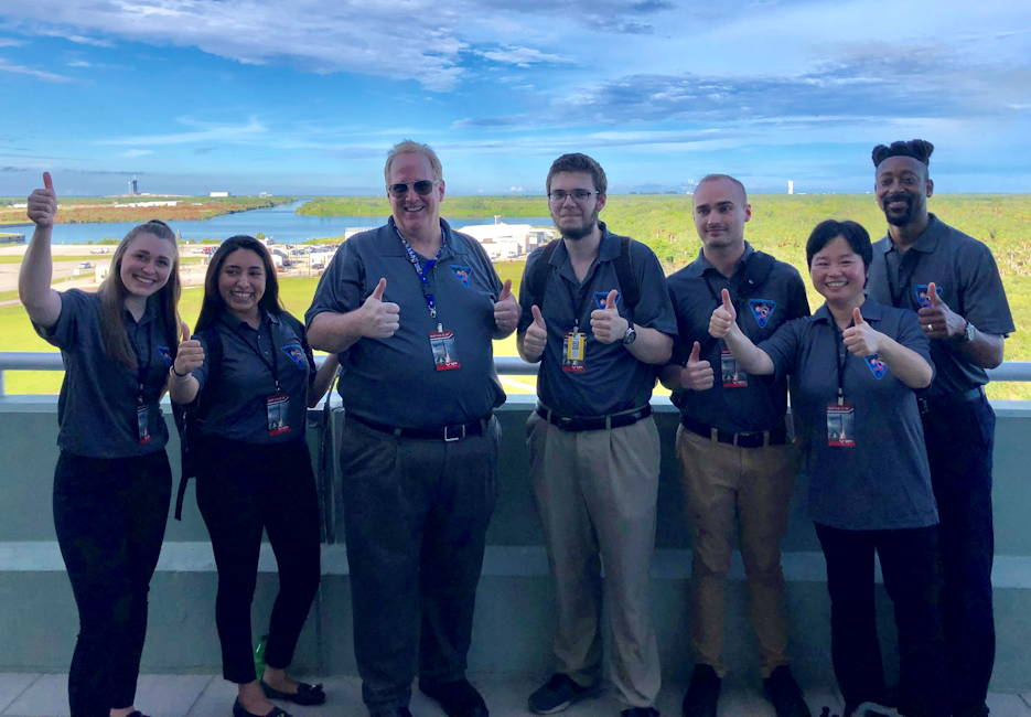 Lone Star College-CyFair Team CERO (left to right) Francesca Liso, Maria Gonzalez, James Philippi, Sean Palmer, Daniel Vasek, Yiheng Wang, Jared Cammon gather at Kennedy Space Center in Florida to watch the launch of their tool to the International Space Station. (NASA courtesy photo)