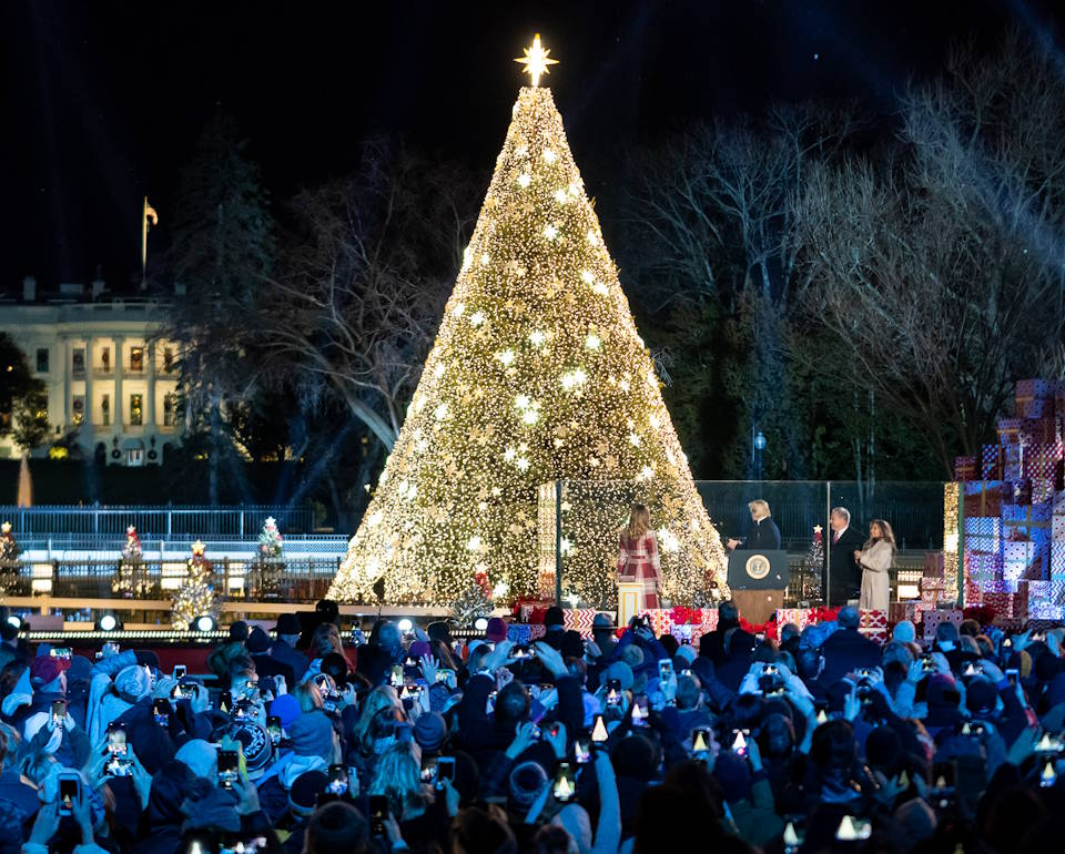 December 5, 2019 - President Donald J. Trump and First Lady Melania Trump light the 2019 National Christmas Tree during the 97th annual National Christmas Tree Lighting Ceremony on the Ellipse in Washington, D.C., starting the national celebration of the holiday season for the enthusiastic crowd and their fellow Americans. (Image created by USA Patriotism! from Official White House Photo by Andrea Hanks)