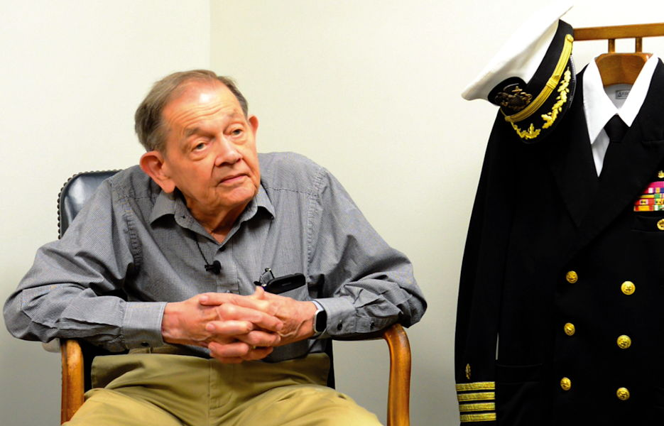 Retired Navy Capt. Robert Doremus, 87, reflects on his time as a prisoner of war (POW) during a visit to the Robert E. Mitchell Center for POW Studies on September 10, 2019. (Naval Air Station Pensacola courtesy photo)