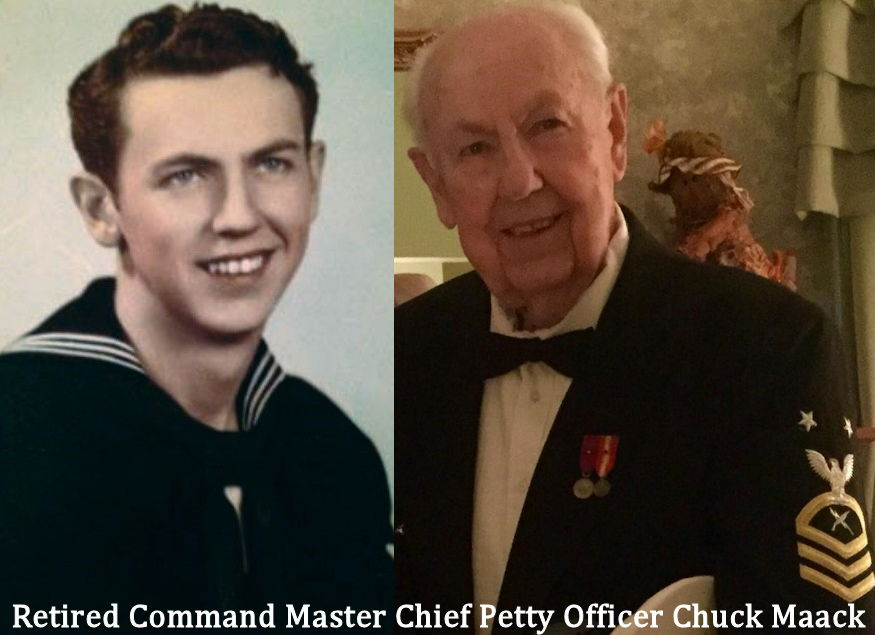 Left - Retired Command Master Chief Petty Officer Chuck Maack, cryptologic technician, as a young sailor in 1952 and at the 242nd Navy Birthday Ball (2017) in his service dress. Maack served in the Navy for 30 years and retired in 1979 in the highest rank an enlisted member can achieve. He spent most of his career ashore and stateside, wherein his duties included operating cryptographic and related communication equipment involved in top secret intelligence. (Courtesy photos by Chuck Maack)