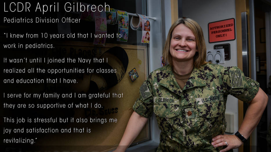 Lt. Cmdr. April Gilbrech, assigned to Naval Hospital Bremerton, was selected on March 10, 2019 for the Navy's Perioperative Nurse Training Program, a challenging, highly sought-after assignment, and nursing specialty, to prepare a registered nurse like her to work in both inpatient and outpatient settings providing highly technical and critical patient-centered care to those in need. (U.S. Navy image created by Petty Officer 1st Class Gretchen Albrecht)