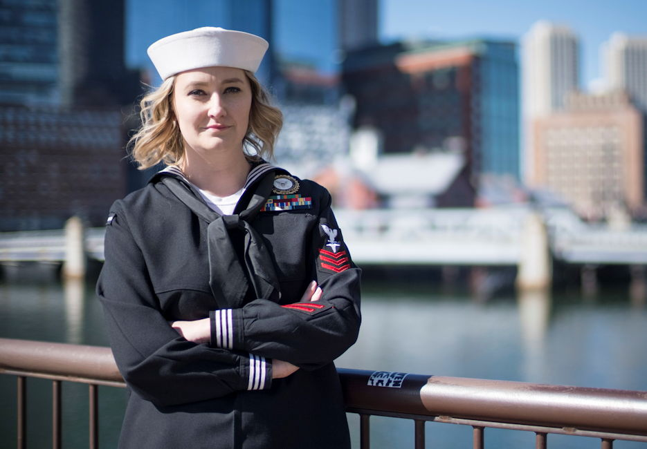 Hospital Corpsman 1st Class Caitlyn Strader, public affairs officer for Navy Recruiting District (NRD) New England in Boston, MA enjoying the view of the city on April 11, 2019. Her next Navy career step took her to officer candidate school (OCS) to become a surface warfare officer (SWO) ... starting July 7, 2019. (U.S. Navy photograph by Mass Communication Specialist 2nd Class Zachary S. Eshleman)