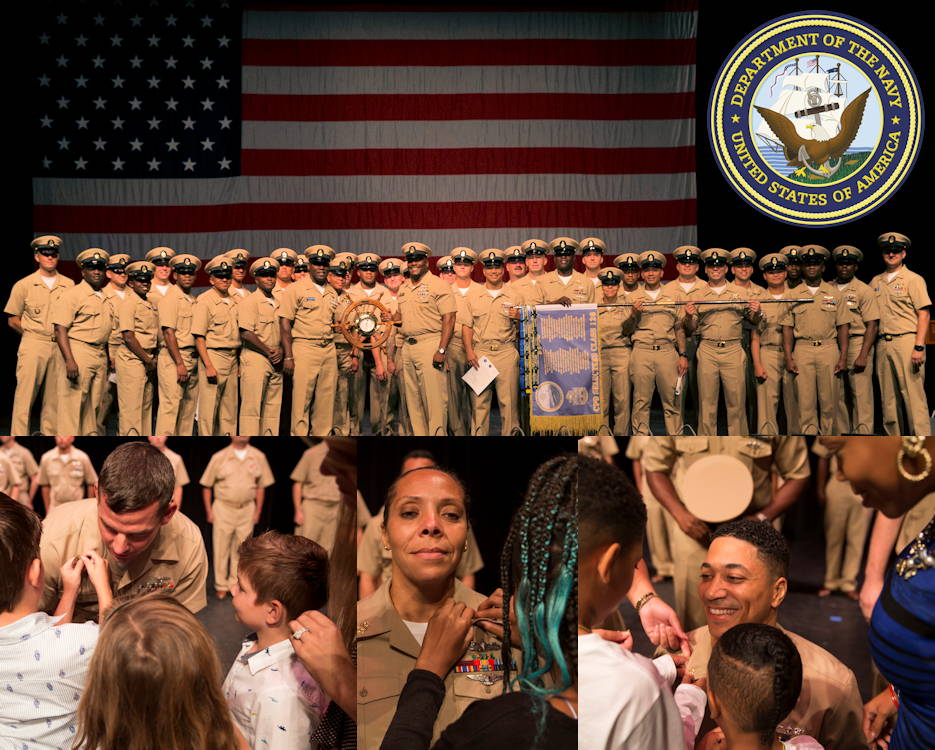 September 13, 2019 - U.S. Navy aircraft carrier USS Gerald R. Ford's (CVN 78) newest Chief Petty Officers proudly stand in front of Old Glory after their pinning ceremony held at the Sandler Center for the Performing Arts in Virginia Beach, Virginia. Each new Chief Petty Officer was pinned by a family member and/or friend as shown by the three scenes below the Chief Petty Officers. (Image created by USA Patriotism! from U.S. Navy photos by Mass Communication Specialist Seaman Apprentice Zack Guth, Mass Communication Specialist 2nd Class Ryan Seelbach, and Mass Communication Specialist 3rd Class Brett Walker.)