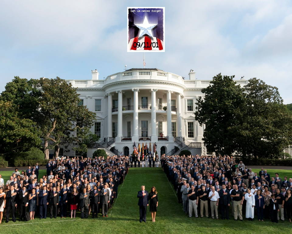September 11, 2019 - President Donald J. Trump and First Lady Melania Trump, joined by members of White House staff, observe a moment of silence in honor of the attacks on September 11, 2001 on the South Lawn of the White House with the 'Let Us Never Forget' banner above the White House. (Image created by USA Patriotism! from Official White House Photo by Andrea Hanks)