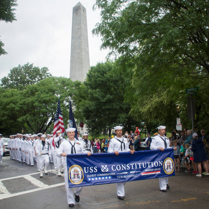 June 16, 2019 - Sailors assigned to USS Constitution march in the Bunker Hill Day Parade. Bunker Hill Day commemorates the anniversary of the Battle of Bunker Hill. (U.S. Navy photo by Mass Communication Specialist 3rd Class Casey Scoular)