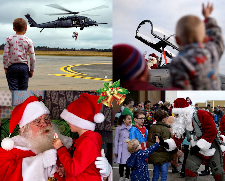 Kids of U.S. Air Force airmen at Royal Air Force Lakenheath, England and Moody Air Force Base, Georgia enjoy their special time with Santa Claus during the respective base's Children's Christmas Party in December 2019. (Image created by USA Patriotism! from U.S. Air Force photos by Senior Airman Erick Requadt and Airman 1st Class Madeline Herzog)