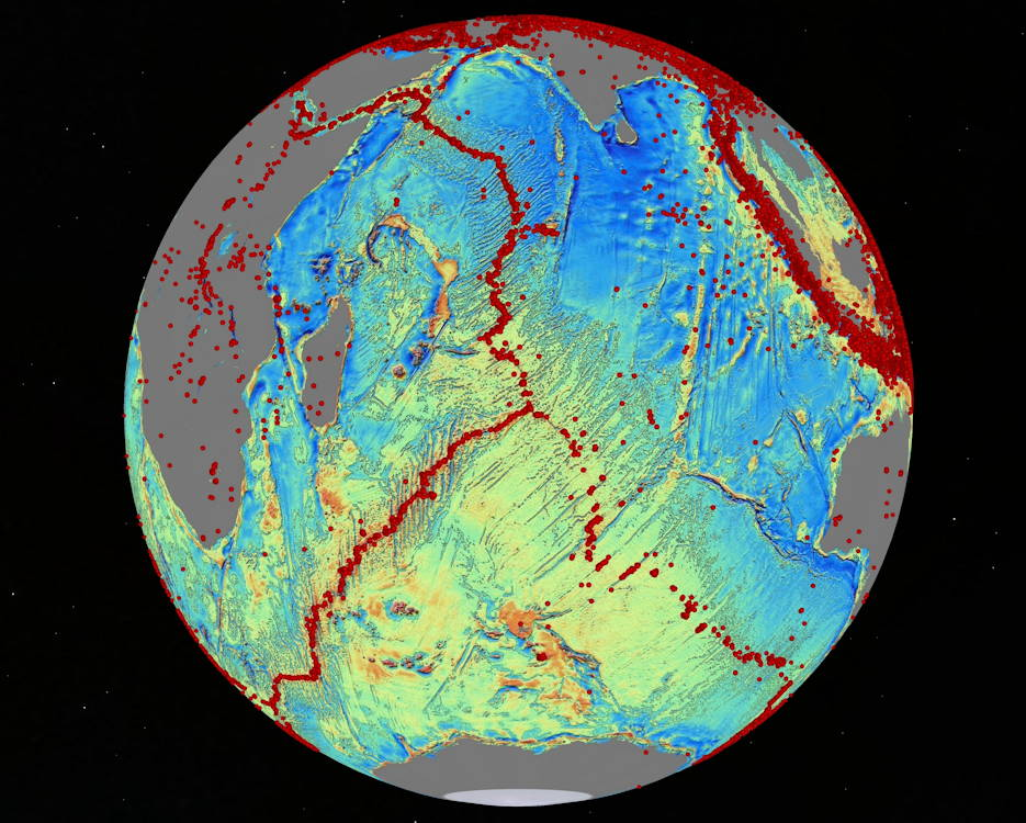 A version of Dr. David Sandwell's sea floor map reveals details about earthquakes (red dots), sea floor-spreading ridges and faults. For creating the most comprehensive global map of the ocean floor, with support from the Office of Naval Research, Sandwell received the Charles A. Whitten Medal, sponsored by the American Geophysical Union. (Photo courtesy of Dr. David Sandwell, Scripps Institution of Oceanography, UC San Diego - February 6, 2019)