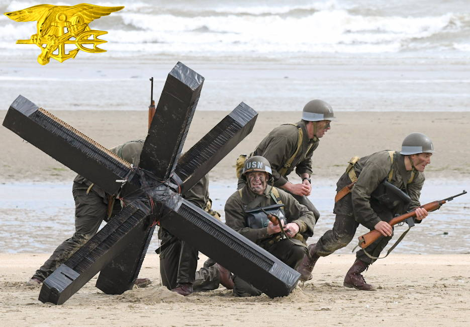 June 6, 2019 - Navy SEALs  reenact a clearing mission combat demolition sailors conducted under cover of darkness for the main invading force on Utah Beach in Normandy, France during Operation Overlord's D-Day (June 6, 1944). The reenactment was associated with the commemoration of D-Day's 75th anniversary. (Image created by USA Patriotism! from U.S. Navy photo by Chief Petty Officer Michael McNabb)