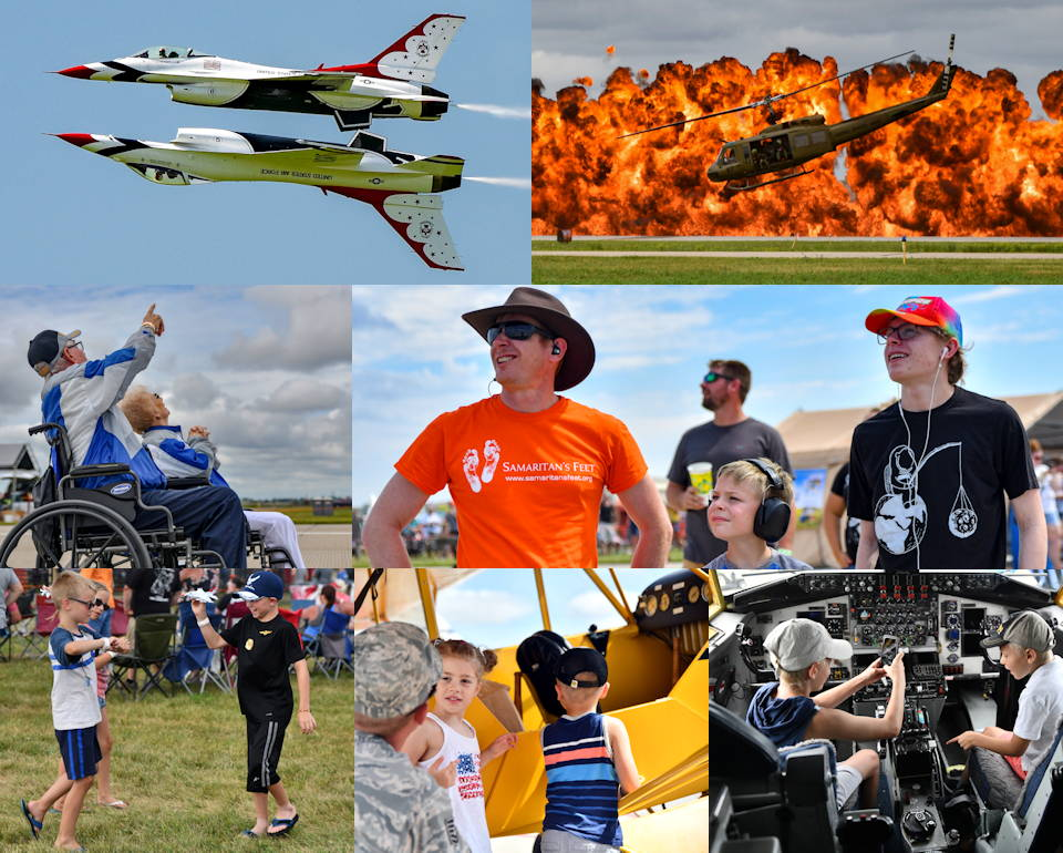 August 17-18, 2019 - Kids and adults enjoy the Sioux Falls Airshow at Joe Foss Field, South Dakota. The airshow included 15 aerial acts, a large variety of static planes, simulators, Star Wars characters, children's inflatables, and food stations. (Image created by USA Patriotism! from U.S. Air National Guard photos by Staff Sgt. Jorrie Hart)