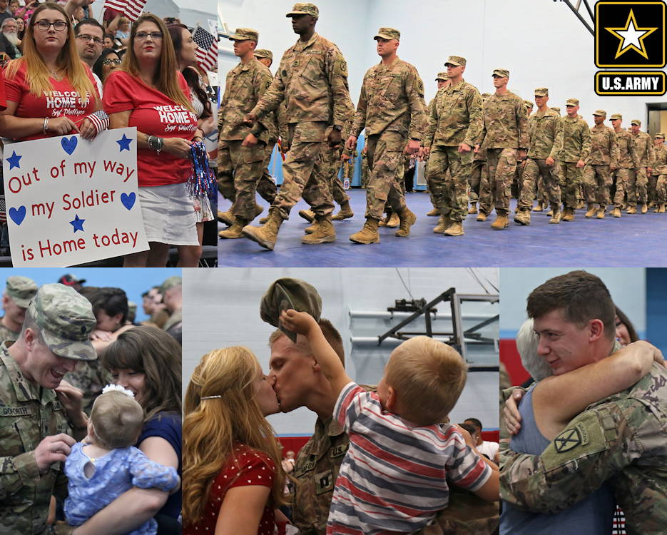 July 15, 2019 - Families packed the basketball court bleachers inside Monti Physical Fitness Center during the second Welcome Home ceremony for Soldiers of 2nd Brigade Combat Team, 10th Mountain Division returning from a nine month deployment at Fort Drum, New York. (Image created by USA Patriotism! from U.S. Army photos by Staff Sgt. Paige Behringer)
