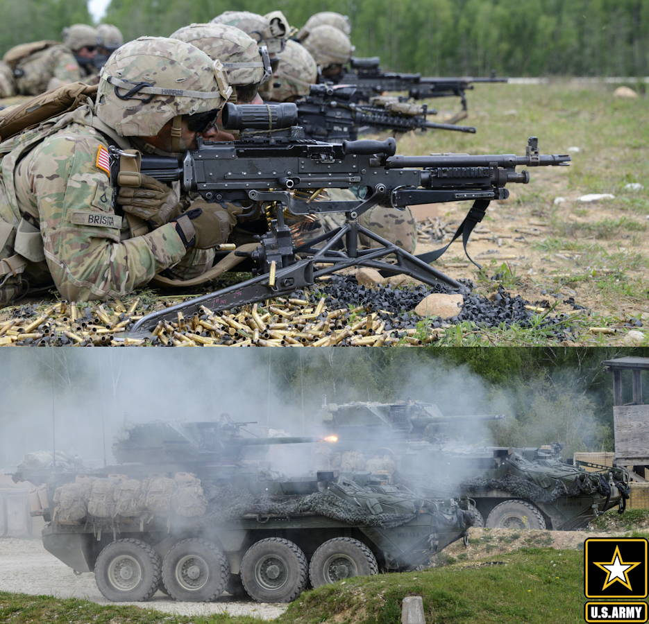 May 7, 2019 - U.S. Soldiers assigned to Eagle Troop, 2nd Squadron, 2nd Cavalry Regiment  fire a 30mm Stryker Infantry Carrier Vehicle – Dragoon and engage targets with a M240B machine guns and assault rifles during a live-fire exercise at 7th Army Training Command's Grafenwoehr Training Area, Germany. The live-fire exercise was conducted in order to increase the squadron's readiness prior to Saber Guardian 19 and Dragoon Ready 20. (Image created by USA Patriotism! from U.S. Army photos by Spc. Rolyn Kropf)