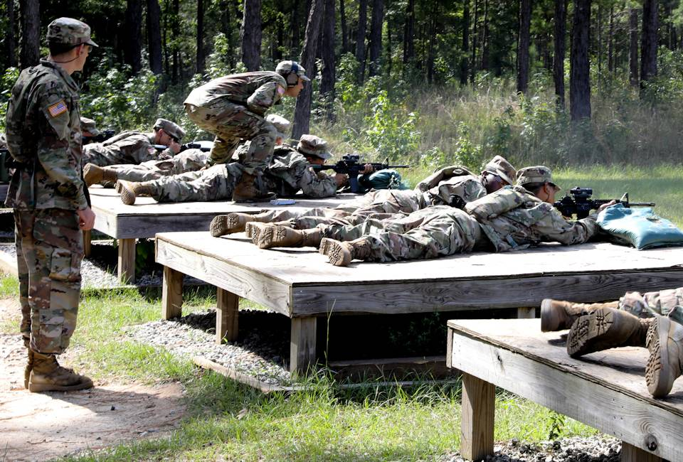 August 21, 2019 - Soldiers with C Troop, 2nd Squadron, 15th Cavalry Regiment, a one station unit training for cavalry scouts with the Maneuver Center of Excellence, zero their M4 carbines at Soto Range on Fort Benning, Georgia. (U.S. Army photo by Markeith Horace, Maneuver Center of Excellence, Fort Benning Public Affairs)