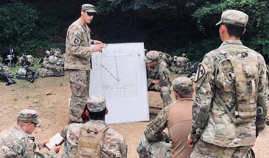 August 21, 2019 - Sgt. Adrian Reed, a squad leader with C Co., 3-8 Cav. Regt., 3rd Armored Brigade Combat Team, 1st Cavalry Division teaches a class on range cards during the Team Leader Academy held at Camp Hovey, Republic Of Korea August 20-23, 2019. The course teaches current and future team leaders how to think and act tactically as a team during operations. (U.S. Army photo by Staff Sgt. Christopher Cerkoney, 3-8 Cav)