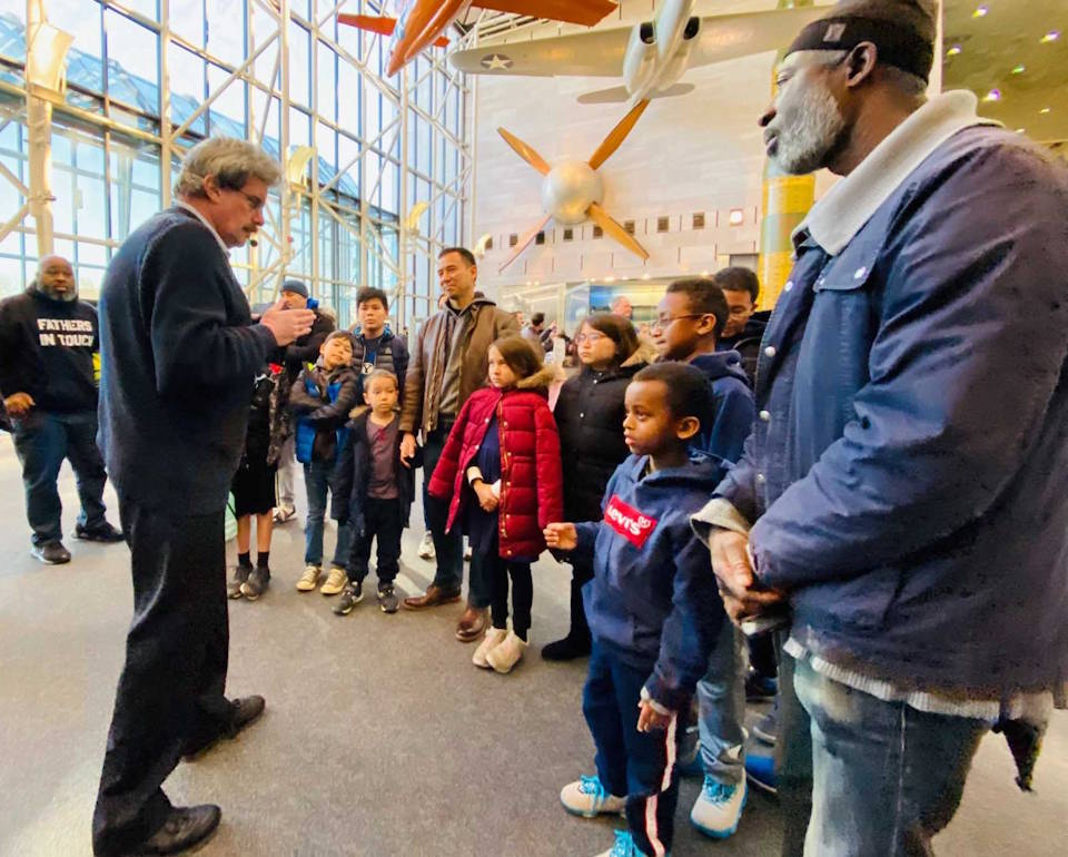 The Capital Youth Empowerment Program hosts parenting class participants at the National Air and Space Museum in Washington on October 25, 2019 to raise awareness and build enthusiasm for career opportunities in STEM. A new initiative involving the DOD-sponsored NextFlex Manufacturing Innovation Institute and CYEP will help CYEP offer additional skills training classes in the future. (Courtesy photo by Capital Youth Empowerment Program)