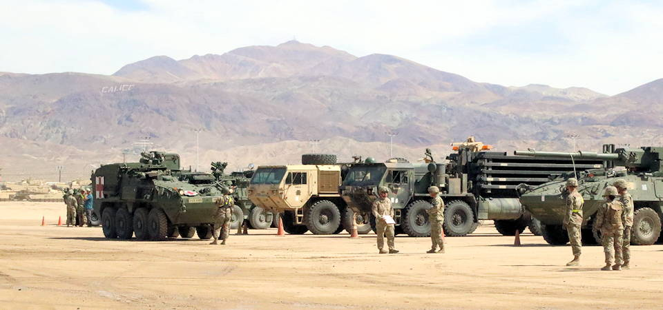 August 22, 2019 - U.S. Army 2-2 Stryker Brigade Combat Team unloads their Strykers, vehicles, and other equipment by rail near Fort Irwin, California in preparation for National Training Center. (U.S. Army photo by Sgt. Ryan Barwick)
