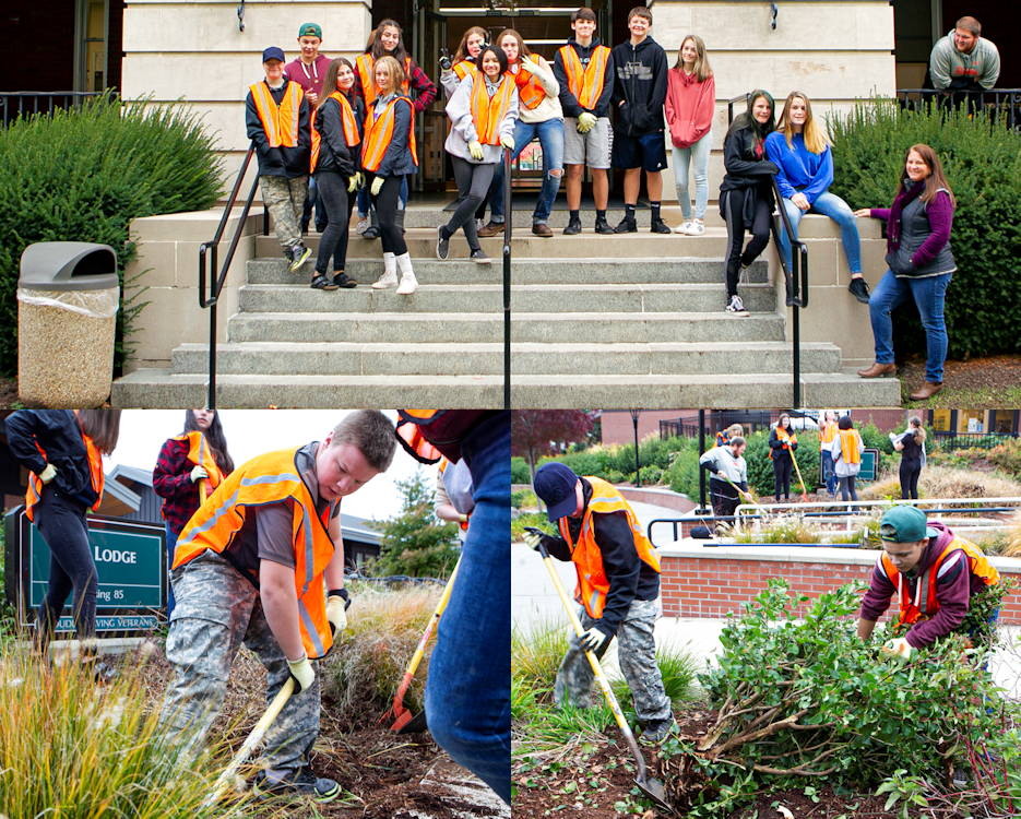 October 16, 2019 - Fifteen freshman students from Douglas High School partnered with the Roseburg VA Health Care System to help give back to the Veteran community, Roseburg, Oregon. Students at Douglas High School must complete 100 community service hours to graduate. (Image created by USA Patriotism! from U.S. Department of Veterans Affairs photo by T. T. Paris)