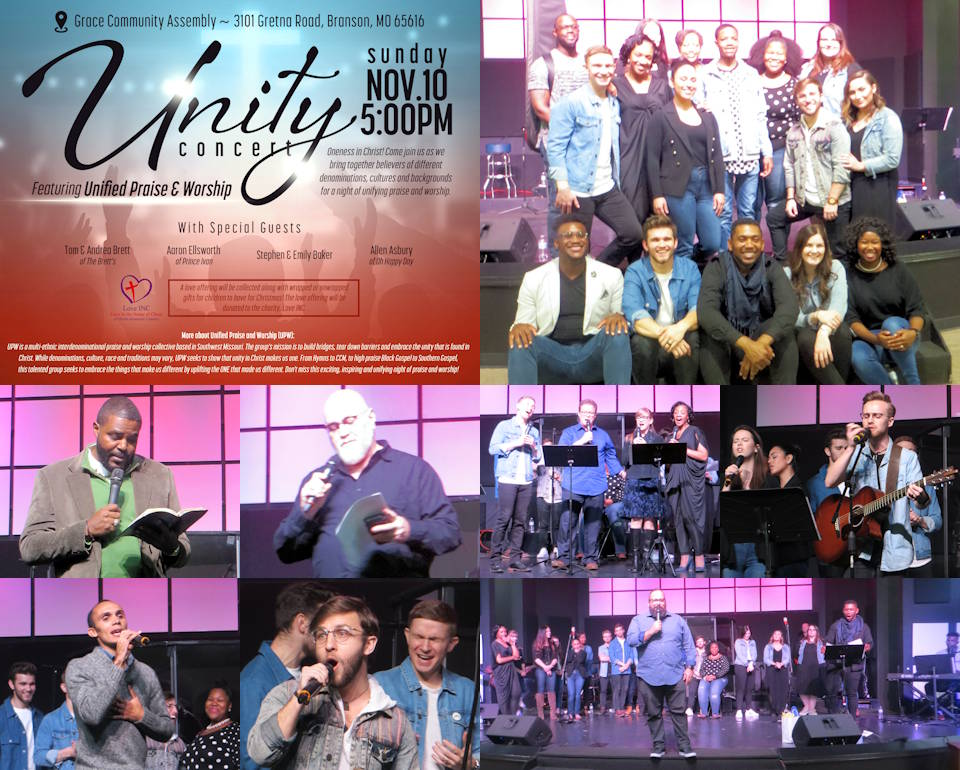 Uplifting, entertaining scenes of talented artists performing and expressing words of faith at the Unity Concert by Unified Praise & Worship in Branson, Missouri on November 10, 2019. (Image and Photos by USA Patriotism!)