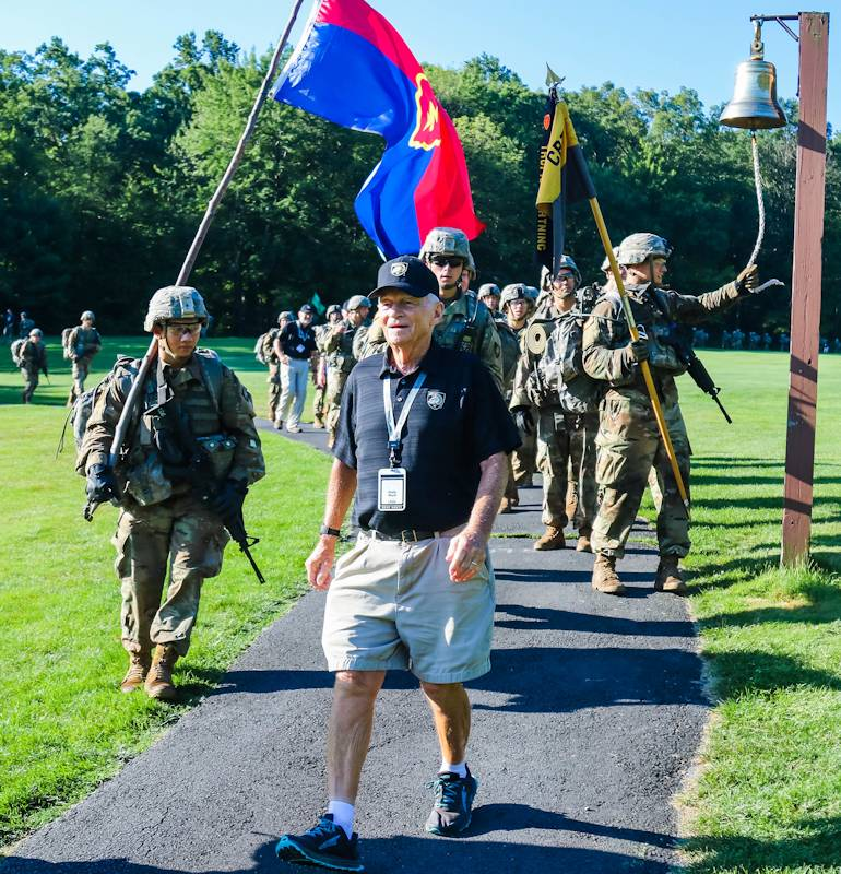 Retired Lt. Col. Wallace Ward, USMA Class of 1958, marches back with the Class of 2023. Ward, 87, was the oldest grad to participate in the 2019 March Back. Members of the U.S. Military Academy Class of 2023 completed their final challenge of Cadet Basic Training by conducting a 12-mile road march from Camp Buckner, Aug. 12, 2019. They were joined by the cadet cadre, USMA leadership, staff, faculty and members of the Long Gray Line. (U.S. Army photo by Brandon OConnor, U.S. Military Academy)