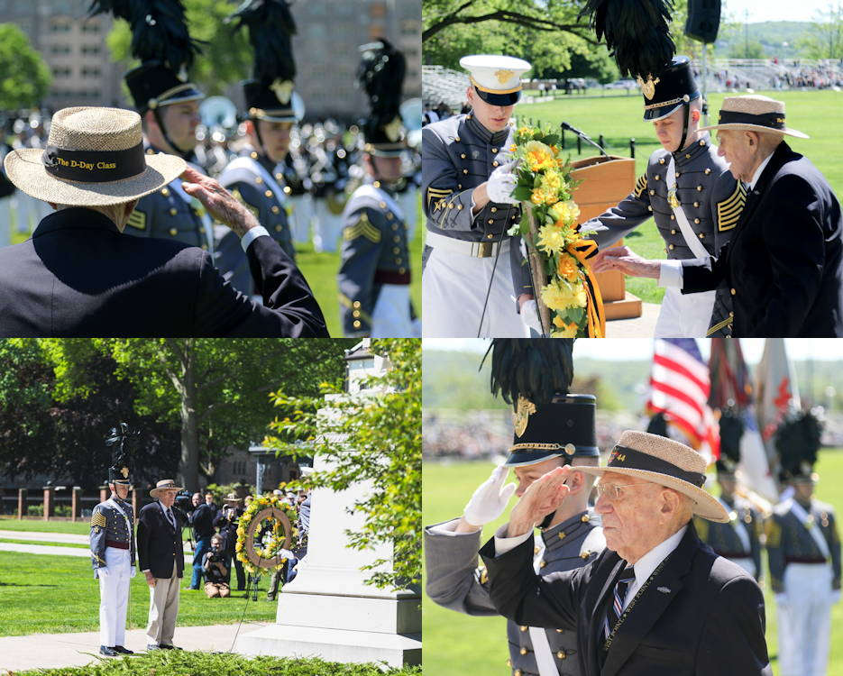 Alumni Wreath Laying Ceremony and Review at the U.S. Military Academy (USMA) at West Point on May 21, 2019. The wreath was laid by retired Col. Doniphan Carter, USMA Class of 1944. (Image created by USA Patriotism! from U.S. Army Photos by CDT Alex Gudenkauf and Brandon O'Connor, USMA)