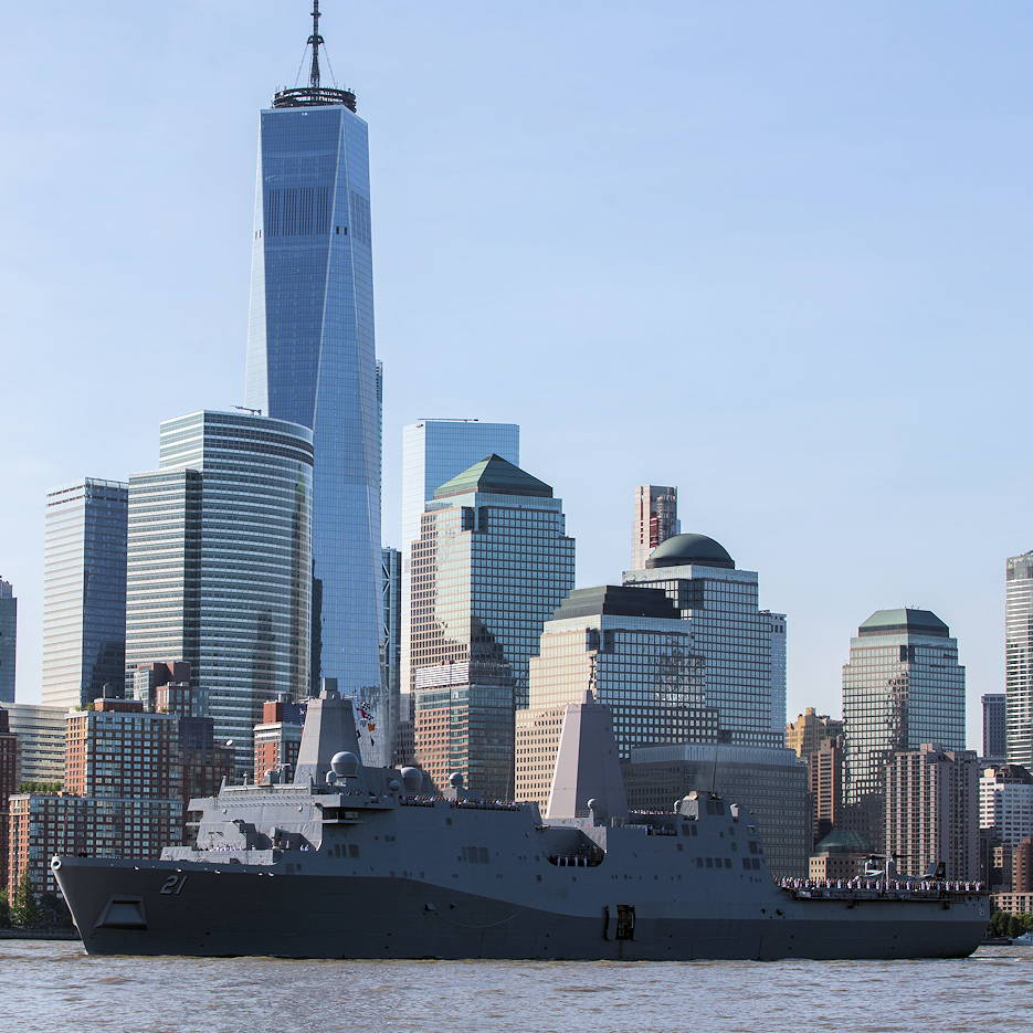 May 22, 2019 - The U.S. Navy San Antonio-class amphibious transport dock ship USS New York (LPD 21) transits the Hudson River as it arrives for Fleet Week New York participation. U.S. Marines, Sailors and Coast Guardsmen were in New York to interact with the public, demonstrate capabilities and teach the people of New York about America's sea services. (U.S. Marine Corps photo by Lance Cpl. Damaris Arias)