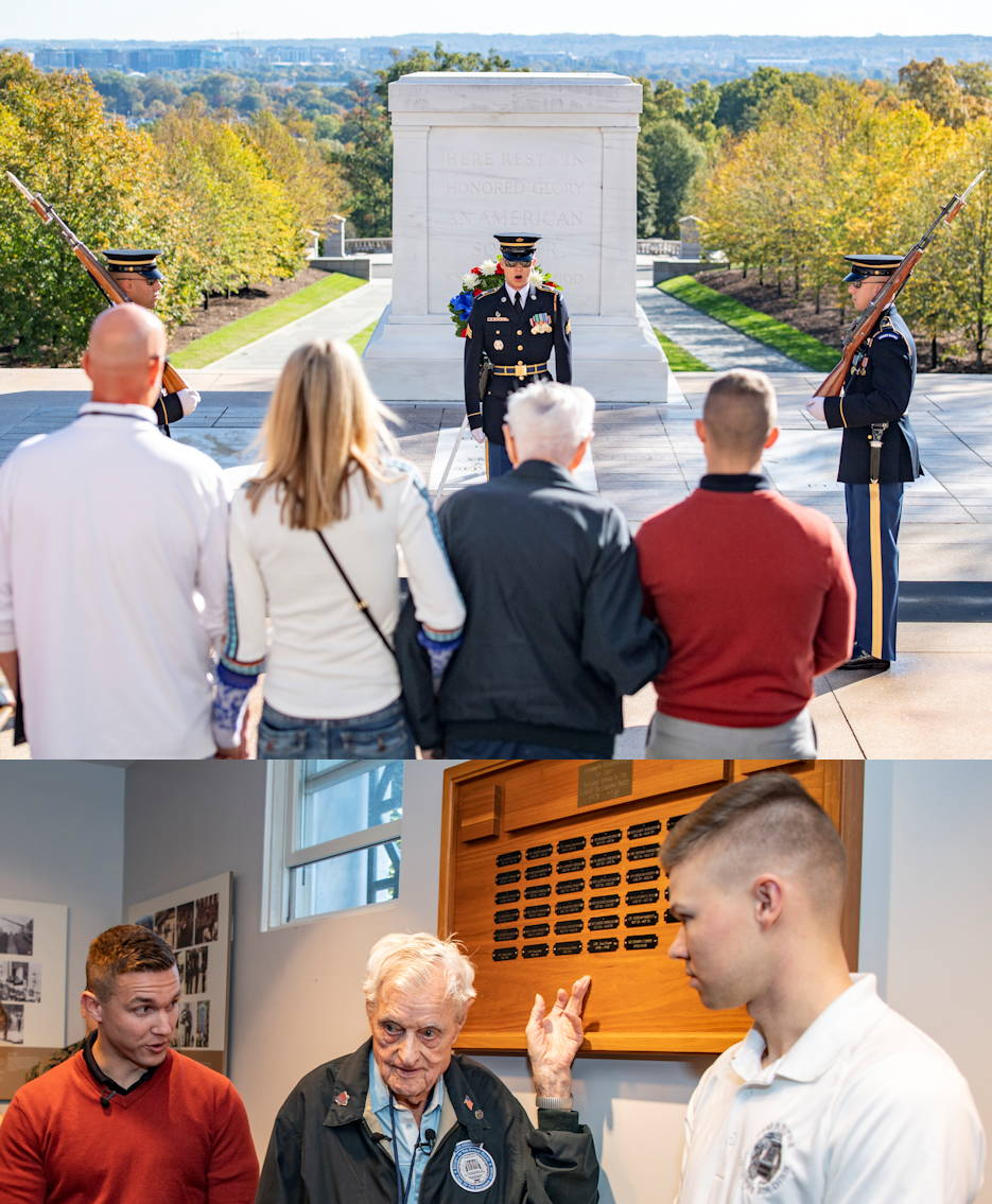October 23, 2019 - Top Image... Jack Eaton (second to right), the oldest living Tomb Sentinel, and U.S. Army Capt. Harold Earls (far right), Commander of the Guard at the Tomb of the Unknown Soldier, and Eaton's family watch the Changing of the Guard Ceremony at the Tomb of the Unknown Soldier at Arlington National Cemetery, Arlington, Virginia. Bottom Image... Jack Eaton (center) points to his nameplate in recognition of his service (1938-1940) in the Tomb Quarters with Capt. Harold Earls (let) and a current Tomb Sentinel (right) stand proudly by his side. (Image created by USA Patriotism! from U.S. Army photos by Elizabeth Fraser, Arlington National Cemetery)