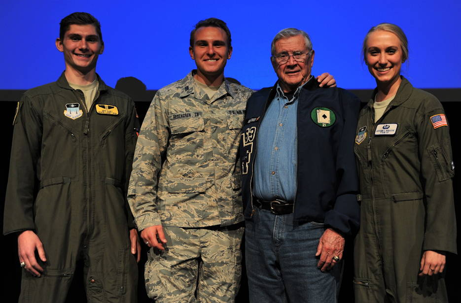 Retired Col. Hank Hoffman, a 1963 graduate of the U.S. Air Force Academy, shared stories of his Vietnam War experience with cadets, April 25, 2019. Hoffman flew four combat tours over Vietnam as B-52 and A-37 pilot. He's seen here onstage at Arnold Hall will three cadets. (U.S. Air Force Academy photo by Jennifer Spradlin)