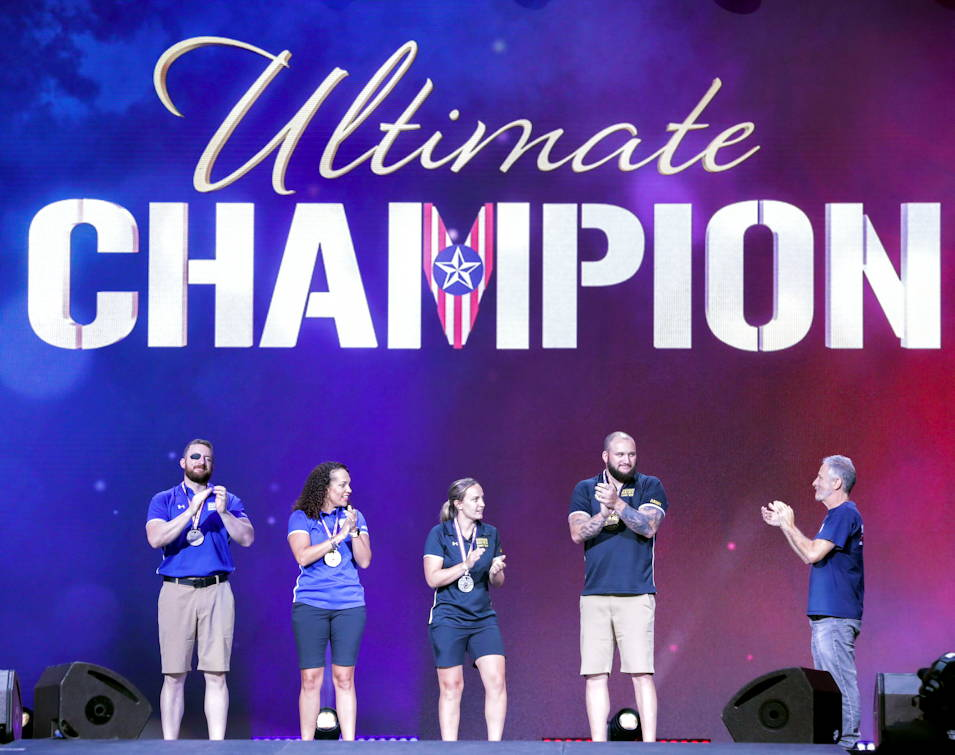June 30, 2019 - U.S. Military service members and veterans receives the award for Ultimate Champion at the Amalie Arena in Tampa, FL. The Department of Defense Warrior Games are conducted June 21-20, hosted by Special Operations Command, Tampa, Florida. It is an adaptive sport competition for wounded, ill, and injured service members and veterans. Approximately 300 athletes representing teams from Army, Marine Corps, Navy, Air Force, Special Operations Command, United Kingdom Armed Forces, Australian Defense Force, Canadian Armed Forces, Armed Forces of the Netherlands, and the Danish Armed Forces will compete in archery, cycling, shooting, sitting volleyball, swimming, track, field, wheelchair basketball, indoor rowing, powerlifting, and for the first time in Warrior Games history, golf, wheelchair tennis, and wheelchair rugby. (U.S. Army Photo by Spc. Evens Milcette Jr.)