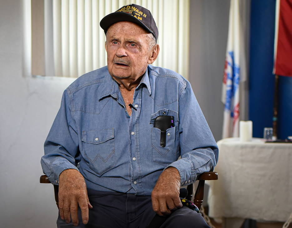 95-year-old D-Day survivor, and Purple Heart recipient, Daniel McBride, who was assigned to the 101st Airborne Division during WWII, tells his story from his home in Silver City, New Mexico on May 29, 2019. (Photo by Dominic Ruiz)