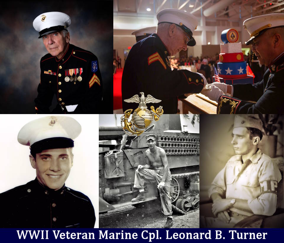Image of WWII veteran and Marine Cpl. Leonard Turner created by USA Patriotism! from courtesy photos provided by U.S. Marine Corps and Leonard Turner.