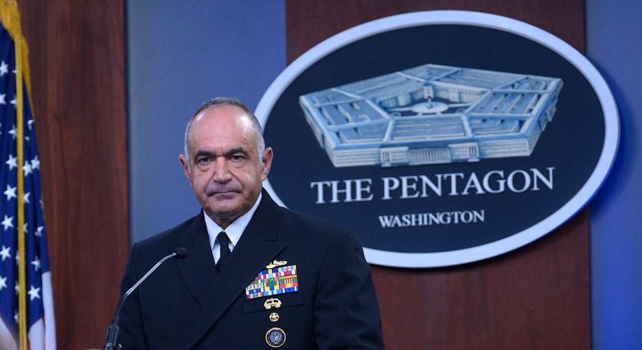 "U.S. Navy Adm. Charles ""Chas"" A. Richard, commander of U.S. Strategic Command, provides an update on the command's mission and readiness during the COVID-19 pandemic at the Pentagon on September 14, 2020. (U.S. Department of Defense photo by Lisa Ferdinando)"