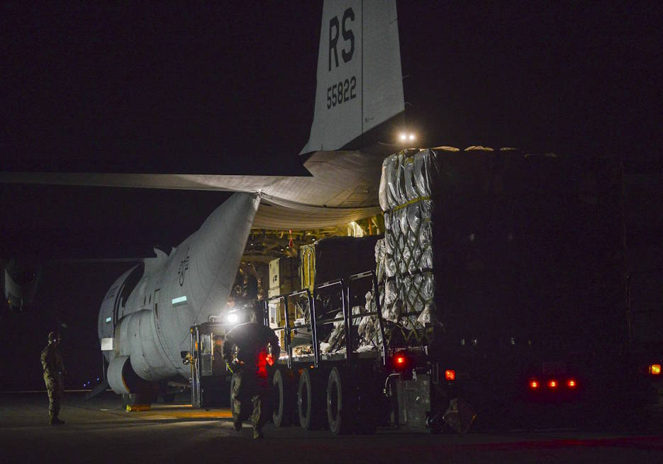 March 20, 2020 - A U.S. Air Force C-130 Hercules from Ramstein Air Base, Germany, delivers pallets of medical equipment to Aviano Air Base, Italy. (U.S. Air Force photo by Tech. Sgt. Rebeccah Woodrow)