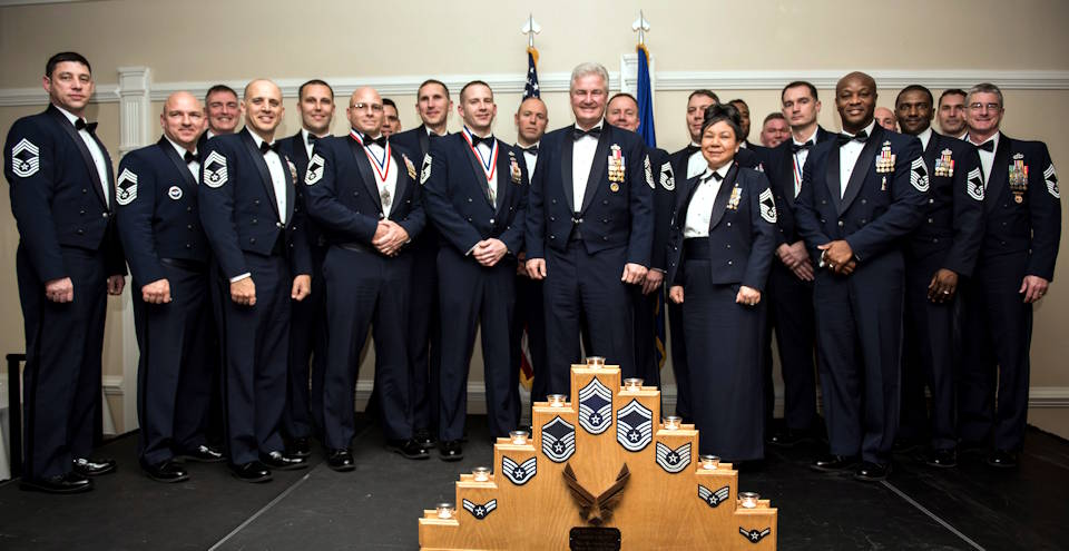 February 7, 2020 - Gerald Murray, 14th Chief Master Sergeant of the Air Force, poses for a group photo with Team Seymour Chief Master Sergeants during the Chief Recognition ceremony at Seymour Johnson Air Force Base, N.C. The Air Force promotes the top one percent of its enlisted force to the rank of Chief Master Sergeant. (U.S. Air Force photo by Staff Sgt. Cambria Lynn Ferguson)