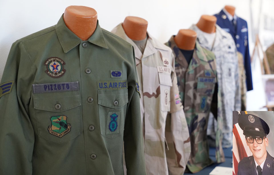 Uniforms owned by Chief Master Sgt. David Pizzuto (lower right corner), 81st Training Wing command chief, are displayed inside of the Levitow Training Support Facility at Keesler Air Force Base, Mississippi on May 6, 2020. Pizzuto, who retired later in May, served for 37 years and has worn every uniform the Air Force has ever known. (Image created by USA Patriotism! from U.S. Air Force photos by Airman 1st Class Spencer Tobler.)