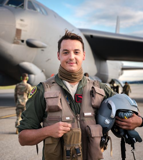 June 18, 2020 - Capt. Nathan Cooper, 96th Bomb Squadron pilot, prepares to fly a mission in a B-52H Stratofortress prior to taking off at Eielson Air Force Base, Alaska, during a bomber task force deployment. Cooper is a third-generation military pilot with and one of five military pilots in his family.(U.S. Air Force photo by Staff Sgt. Philip Bryant)